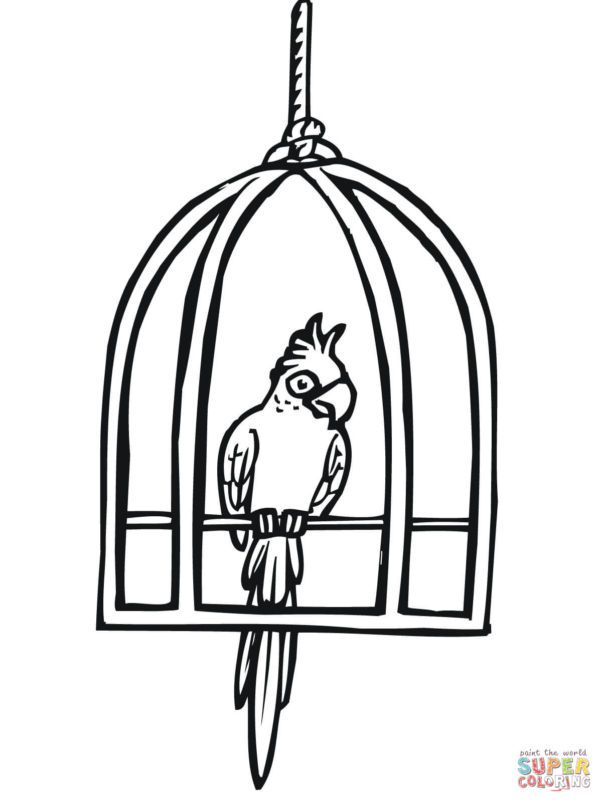 1200x1600 Bird Cages Drawings Parrot In A Cage Coloring Page Free