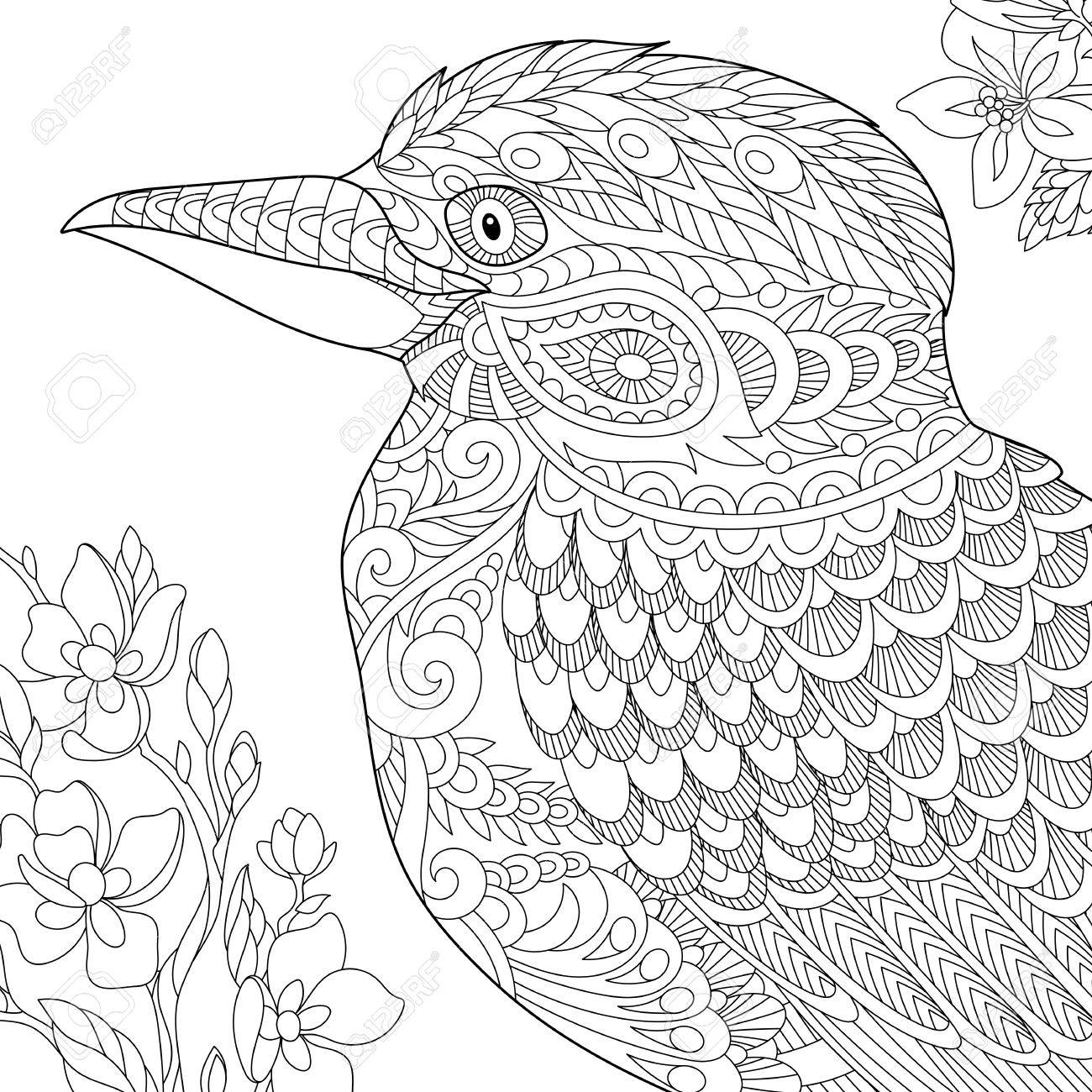 1300x1300 Coloring Page Of Australian Kookaburra Bird. Freehand Sketch