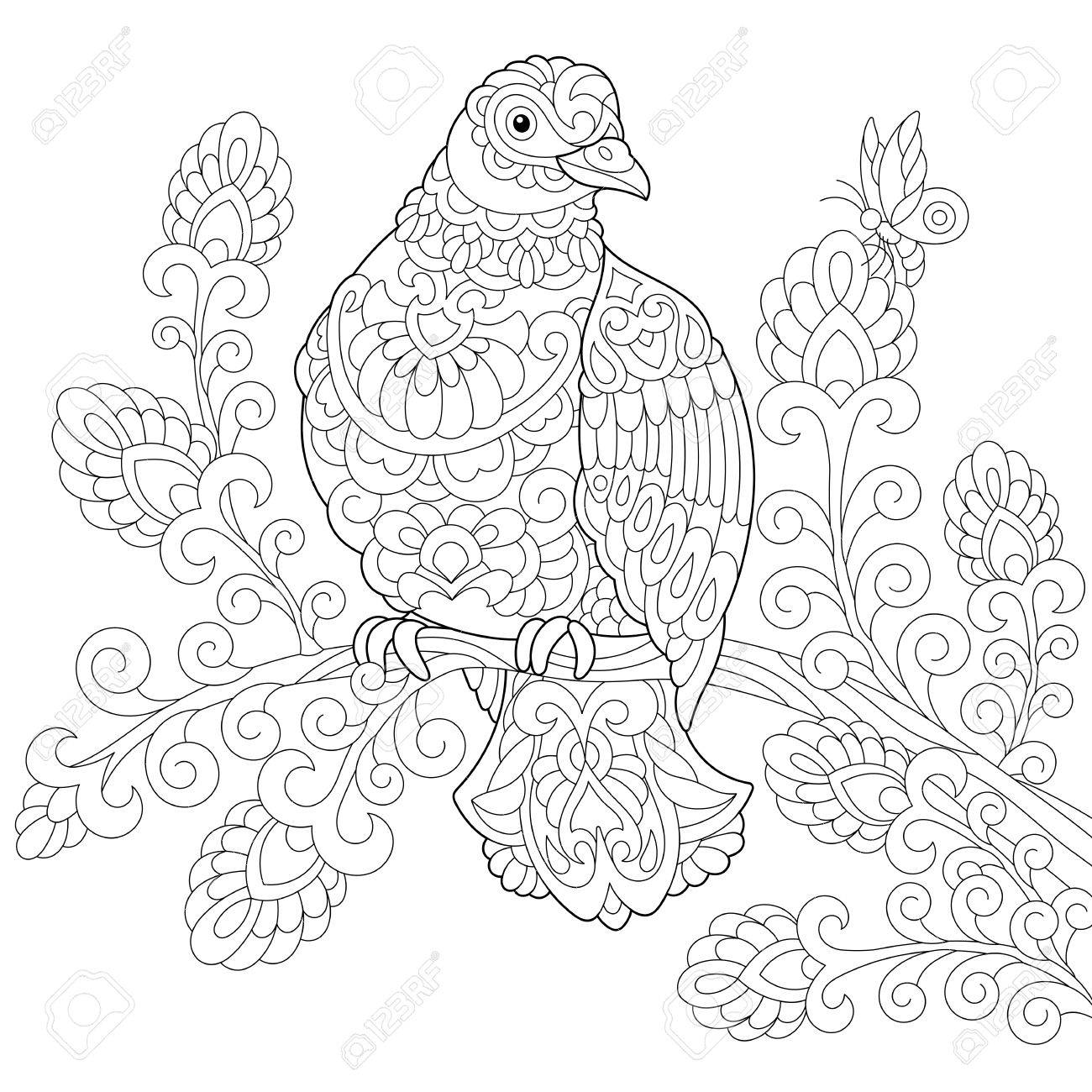 1300x1300 Coloring Page Of Dove (Pigeon) Bird. Freehand Sketch Drawing