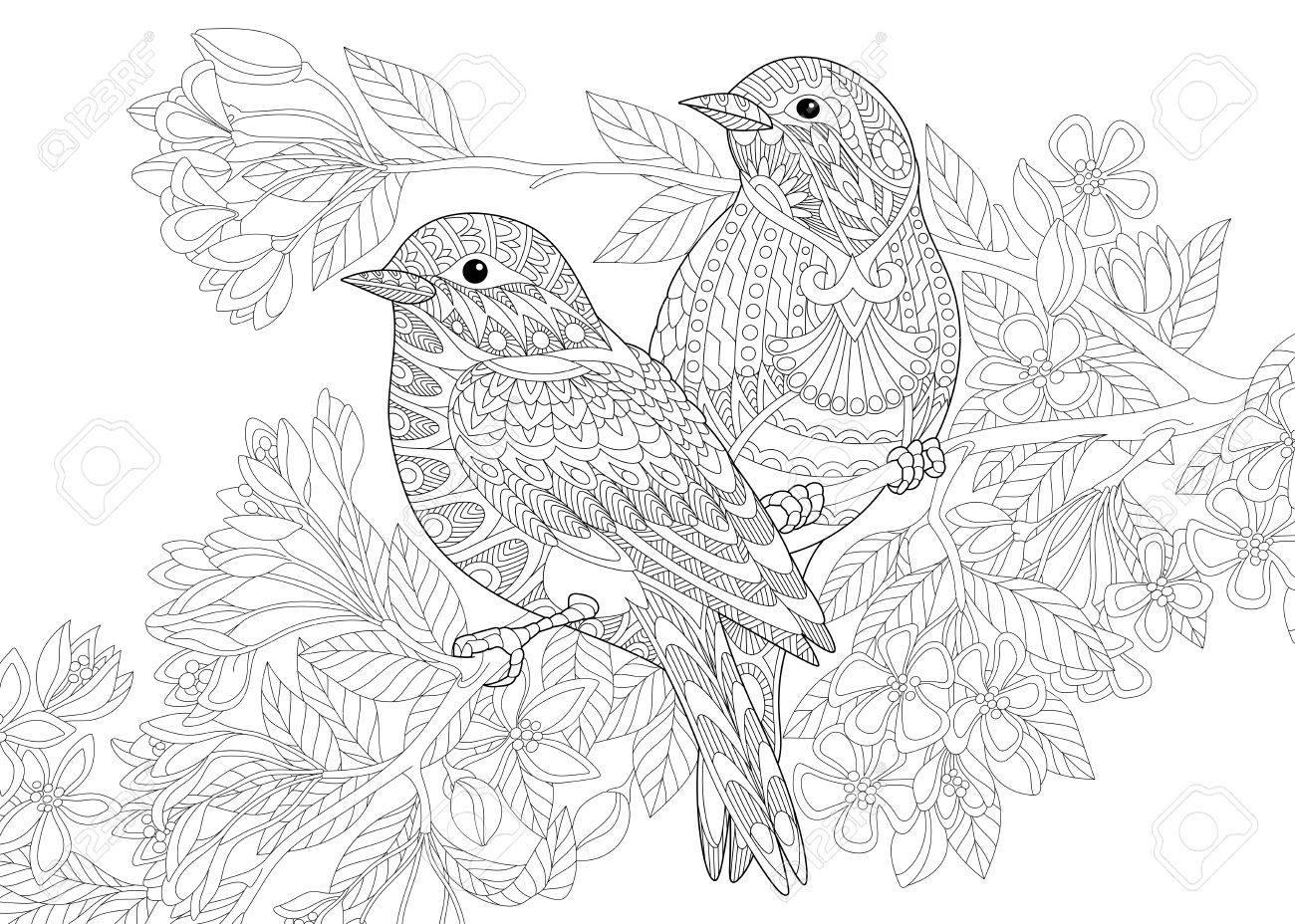 1300x928 Coloring Page Of Two Birds. Freehand Sketch Drawing For Adult