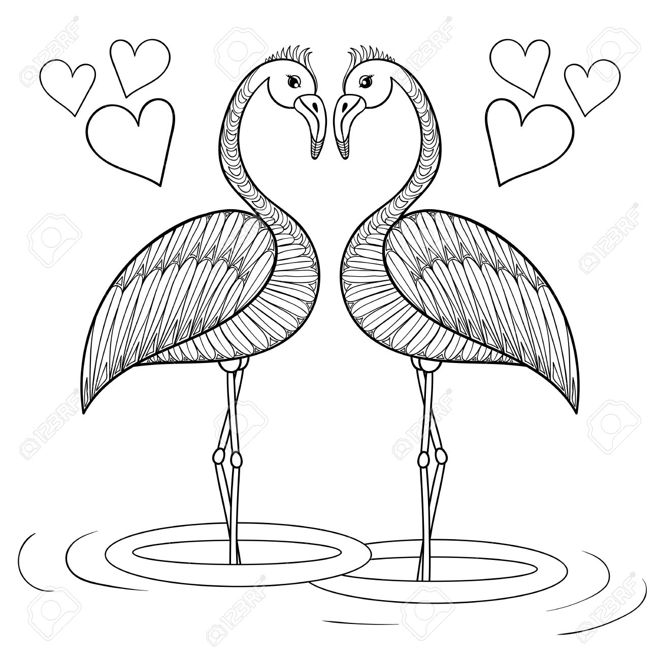 1300x1300 Coloring Page With Flamingo Birds In Love, Zentangle Hand Drawing