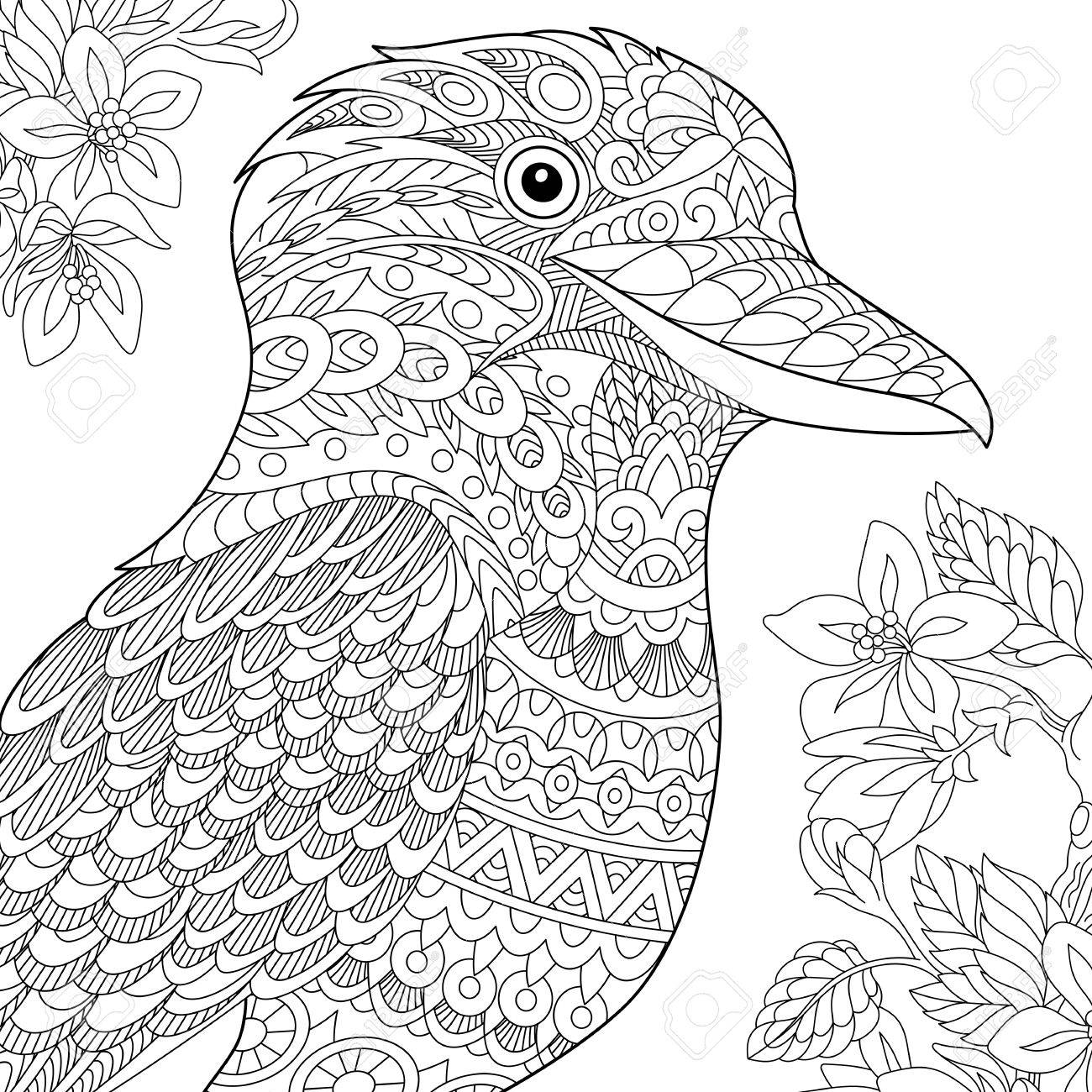 1300x1300 Coloring Page. Australian Kookaburra Bird. Freehand Sketch Drawing
