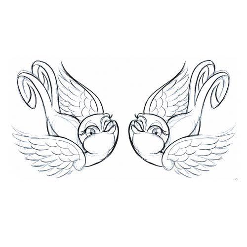 500x500 Drawn Lovebird I Love You