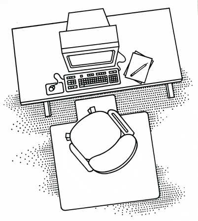 402x450 Desk, Computer And Chair Design Illustrations