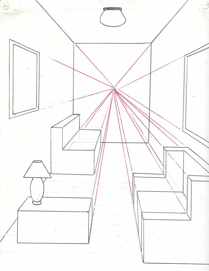 791x1024 One Point Perspective Bedroom Tutorial Wall Drawing Ideas How