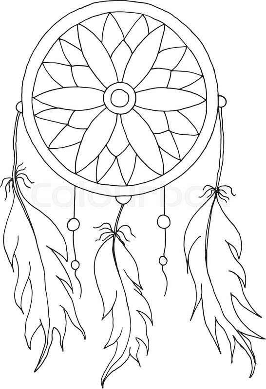 546x800 Hand To Draw A Dreamcatcher With Beads And Feathers Of Birds