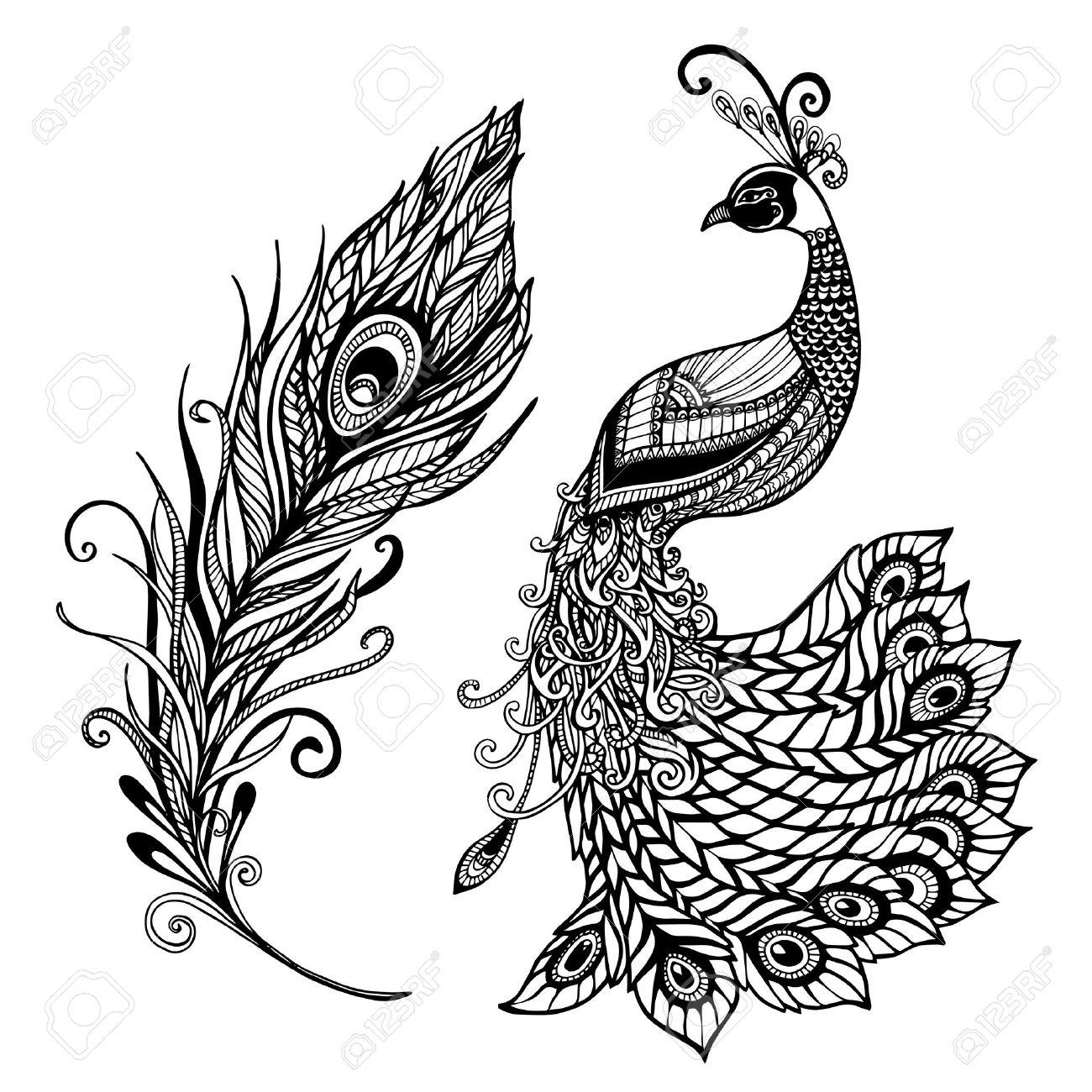 1300x1300 Decorative Stylized Peacock Bird Feather Art Deco Design Template
