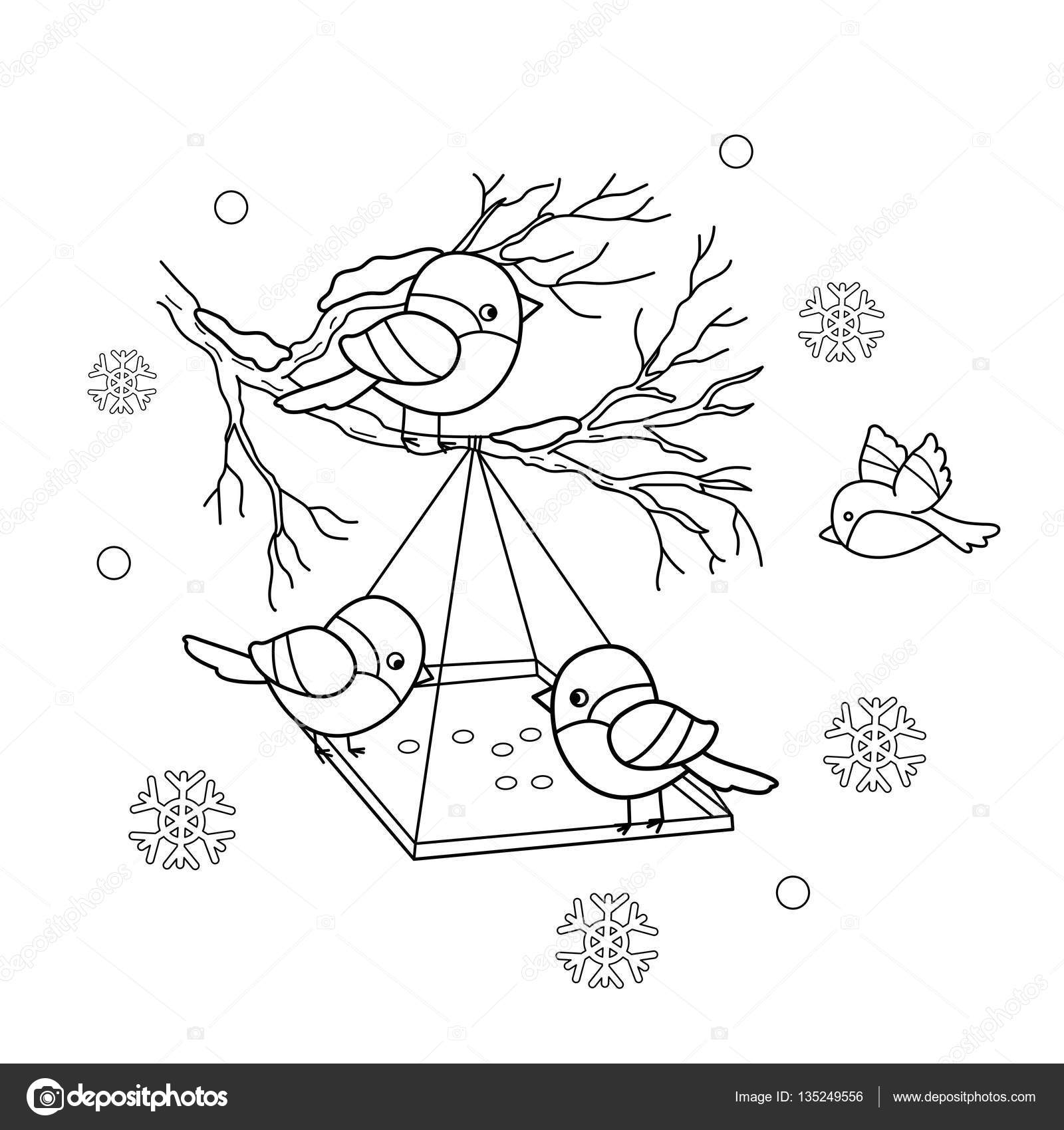 1600x1700 Coloring Page Outline Of Cartoon Birds In The Winter. Bird Feeder