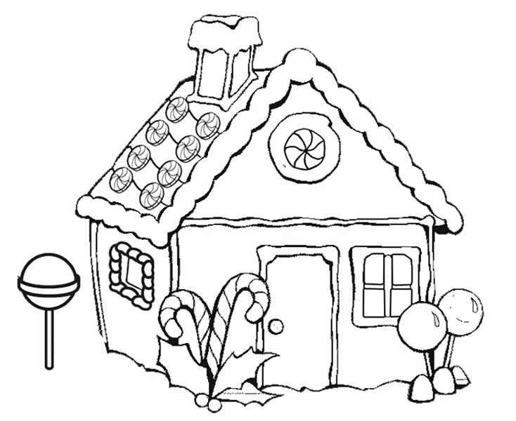 734x600 Coloring Pages Houses Gingerbread House Coloring Page Coloring