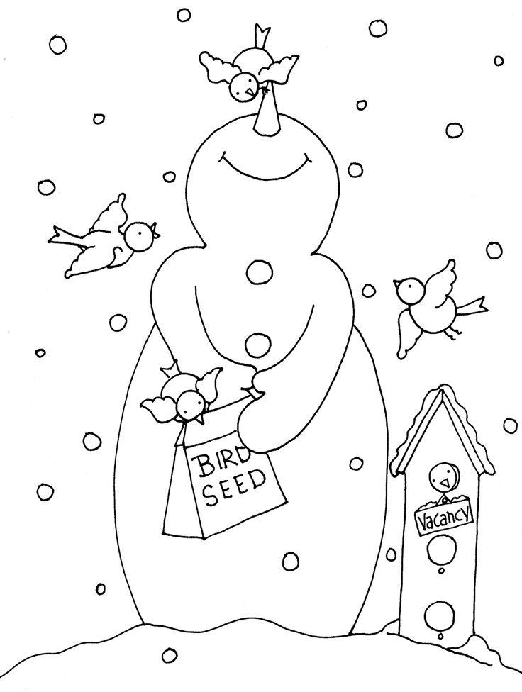 736x976 Free Dearie Dolls Digi Stamps Snowman Bird Feeder Craft