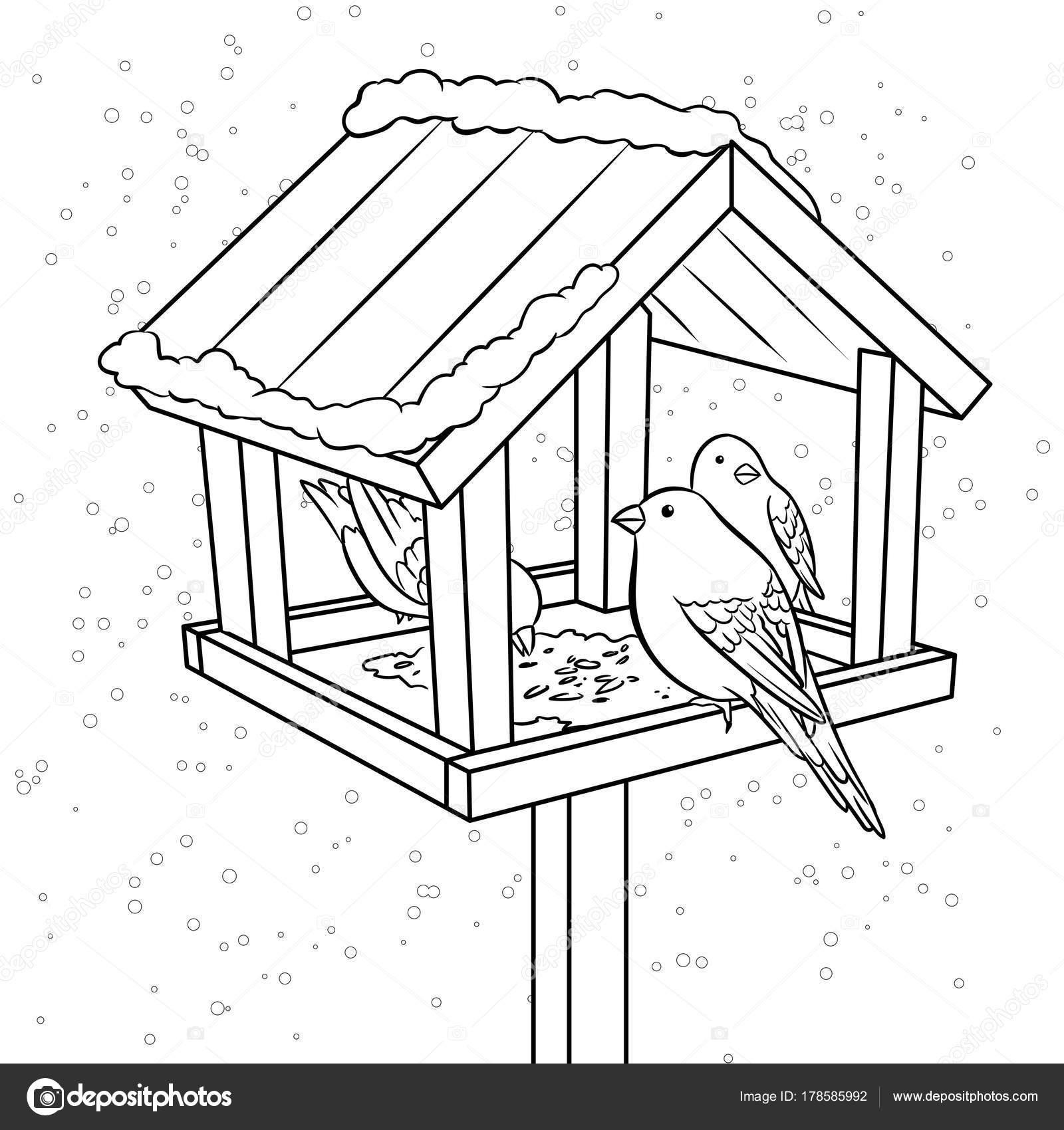 1600x1700 Winter Bird Feeder Coloring Book Vector Stock Vector