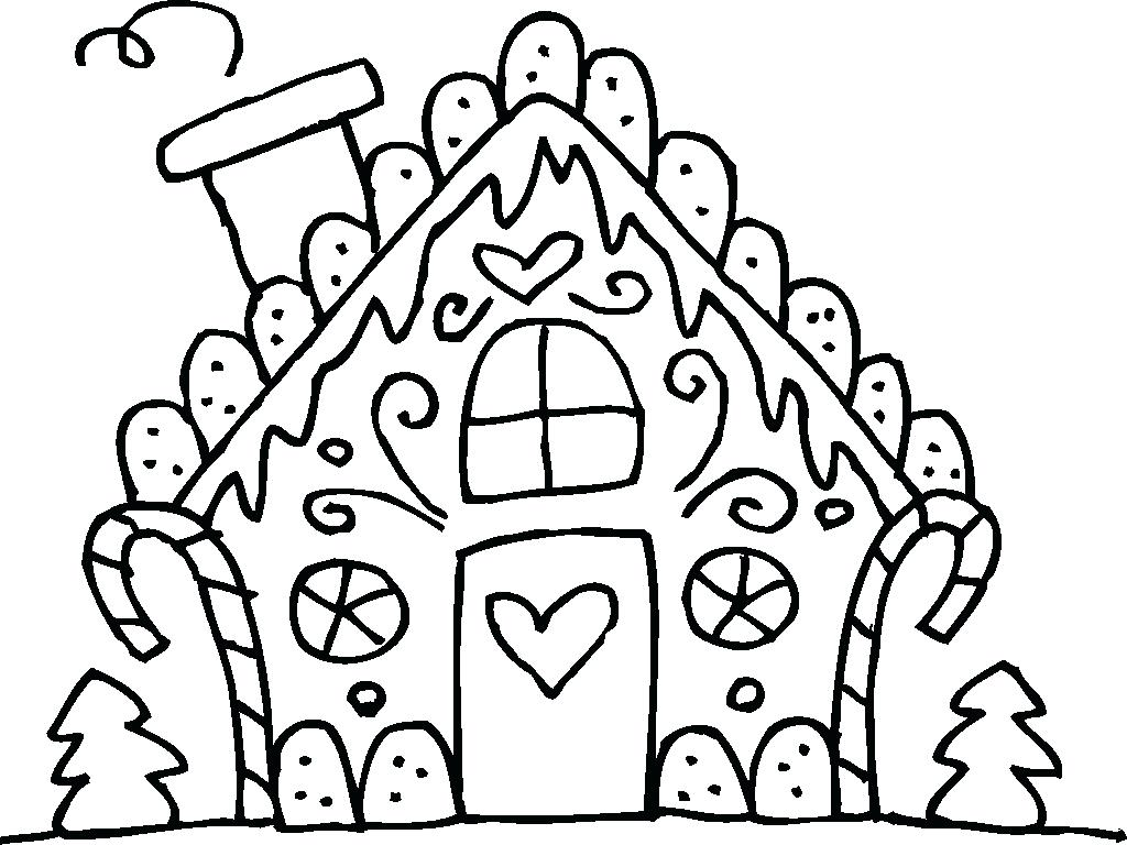 1024x768 Coloring Coloring Pages Houses Gingerbread Blank House Archives
