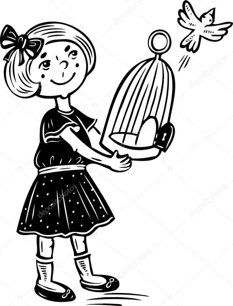 780x1024 Girl Lets Out A Bird From The Cage. Stock Vector Digital