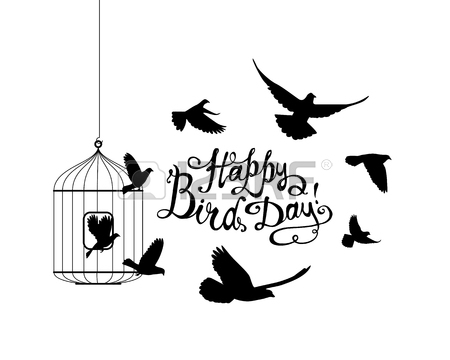 450x360 Happy Bird Day! Hand Written Inscription And Birds Flying Out