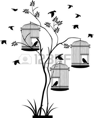 357x450 Illustration Flying Birds With A Love For The Bird In The Cage