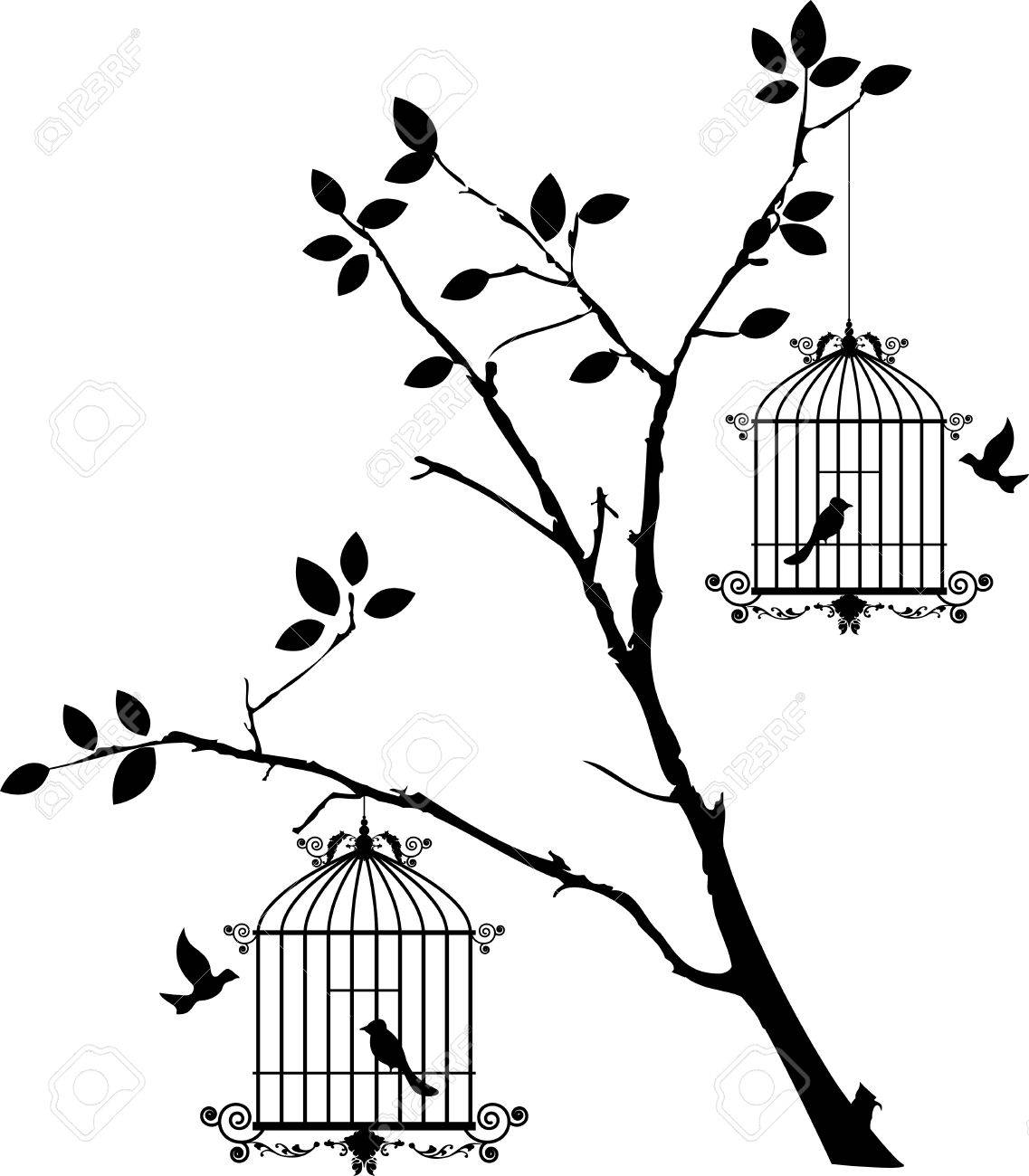 1137x1300 Tree Silhouette With Birds Flying And Bird In A Cage Royalty Free