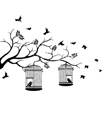 380x400 Tree Silhouette With Bird Flying Vector Products I Love