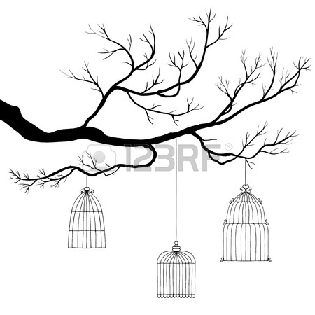 450x450 Vector Tree Branch Of Hand Drawn Bird's Cages Royalty Free