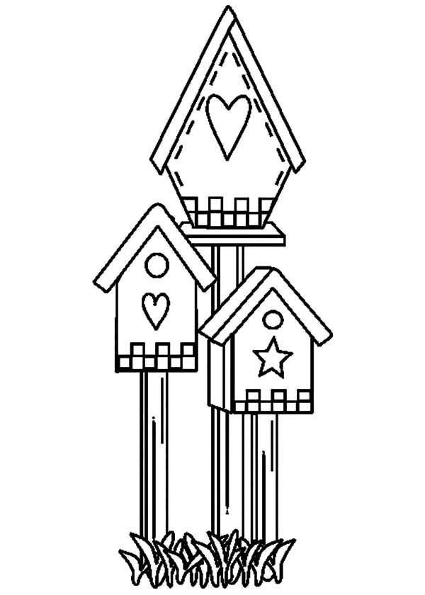 free bird house coloring pages | Bird House Drawing at GetDrawings.com | Free for personal ...