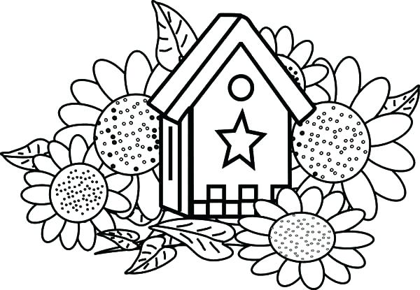 600x415 Elegant Sunflowers Coloring Pages Crayola Photo Bird House And