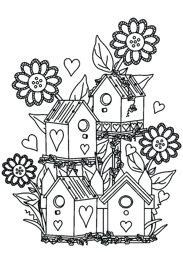 600x840 Flower Garden Coloring Page Bird House At
