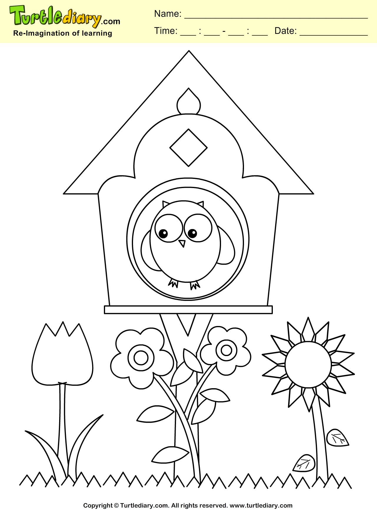 1281x1754 Bird House Coloring Sheet Turtle Diary