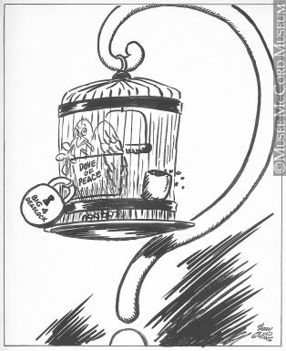 314x385 M965.199.9565 Only A Bird In A Gilded Cage. Drawing, Cartoon