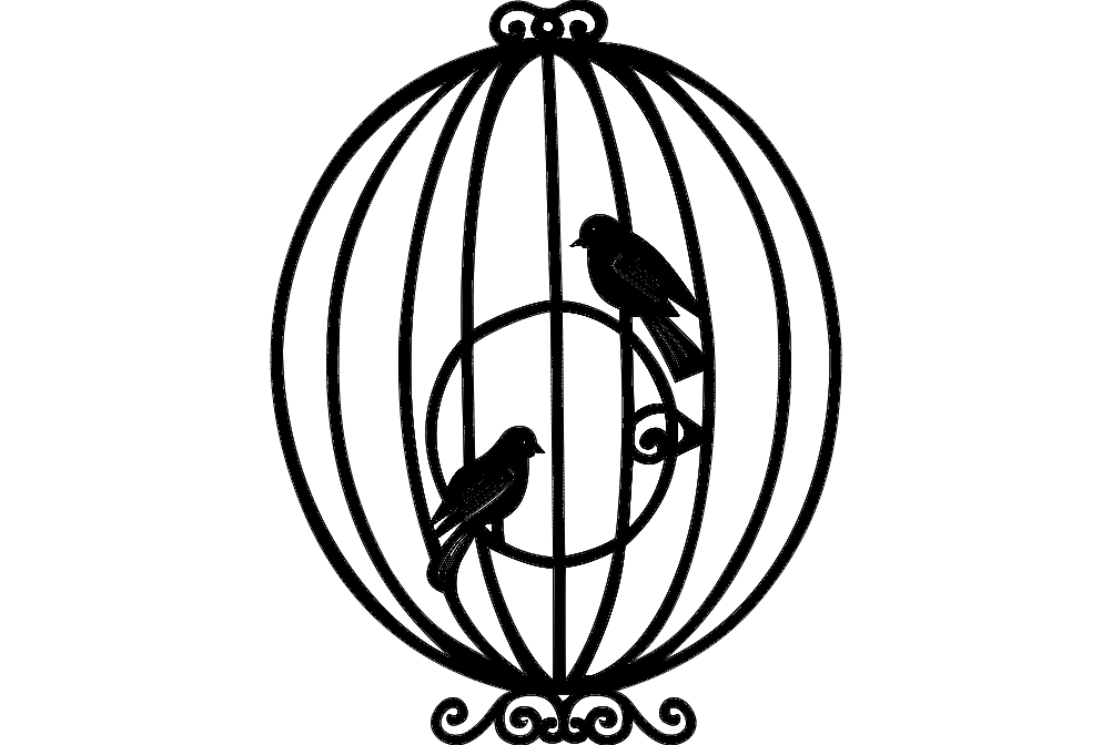 1002x672 Bird Cage Dxf File Free Download
