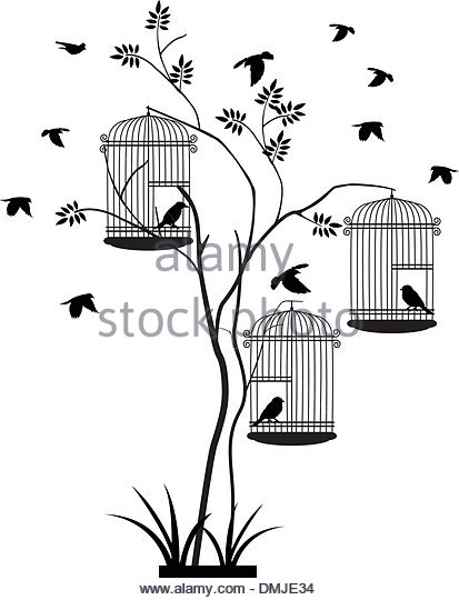 413x540 Vector Illustration Bird In Cage Stock Photos Amp Vector