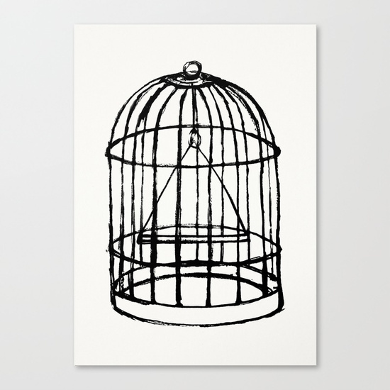 550x550 Vintage Bird Cage Illustration Canvas Print By Younglovers Society6