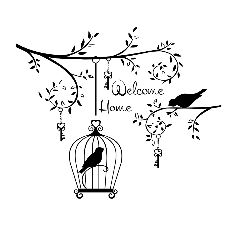900x900 Welcom Home Living Room Decorative Wall Sticker Birds In The Tree