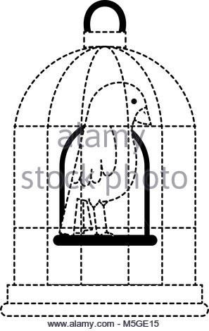 297x470 Cute Bird In Cage Stock Vector Art Amp Illustration, Vector Image