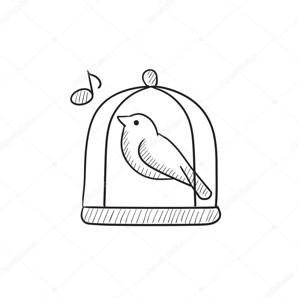 1024x1024 Bird Singing In Cage Sketch Icon. Stock Vector Rastudio