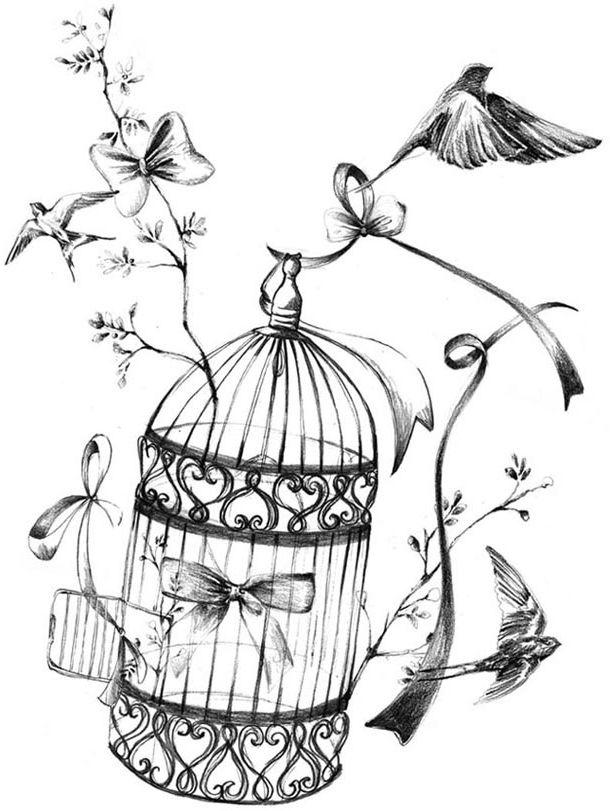 610x811 Image Birdcage Bird In Flight Bird Cage Tattoosdrawing