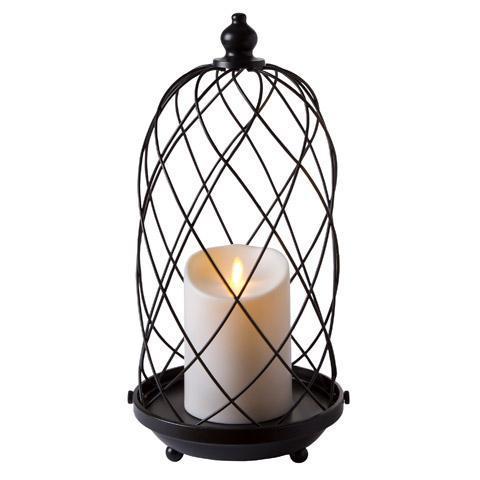 480x480 Luminara 15 Black Bird Cage Lantern W 5 Flameless Candle