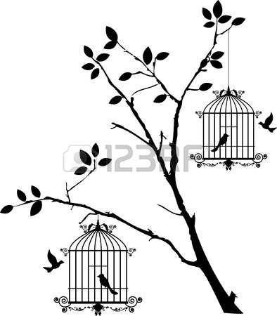 394x450 Tree Silhouette With Birds Flying And Bird In A Cage Royalty Free