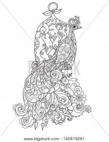 360x470 Zen Art Stylized Peacock Bird Cage Vector Amp Photo Bigstock