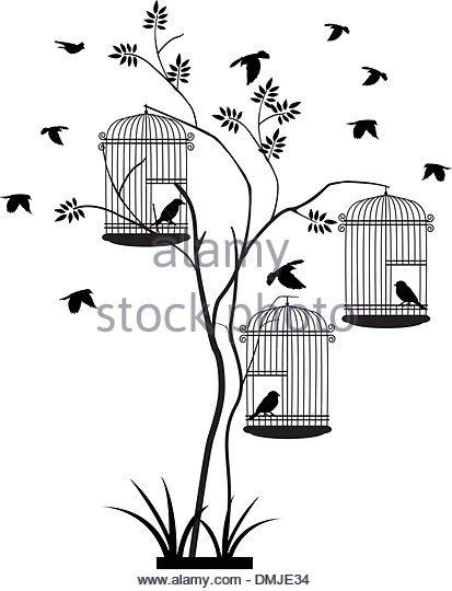 413x540 Bird Cage Bird In Silhouette Stock Photos Amp Bird Cage