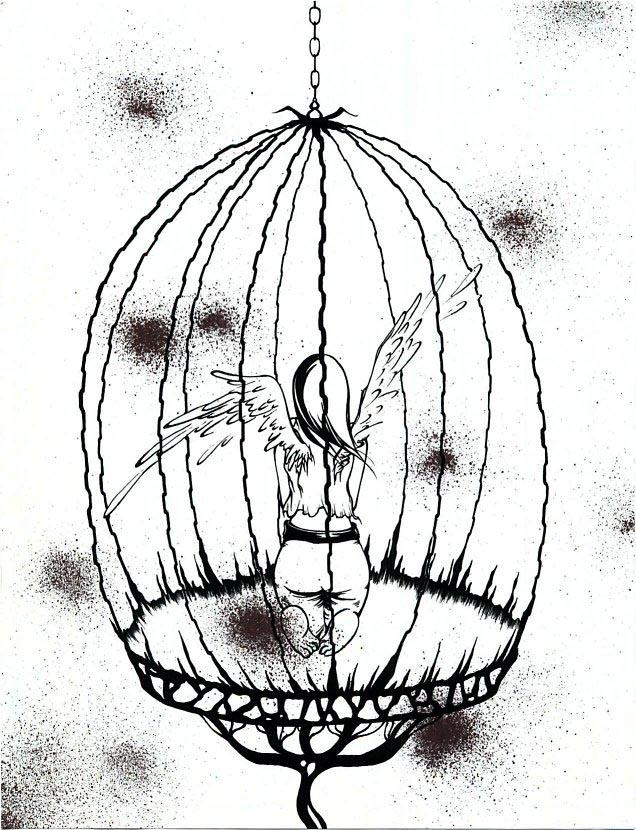 636x830 Bird In Cage Drawing Birdcage Design Ideas