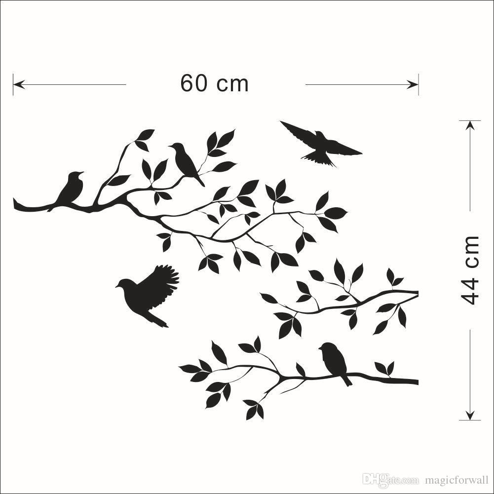 1001x1001 Black Bird And Tree Branch Leaves Wall Sticker Decal Removable