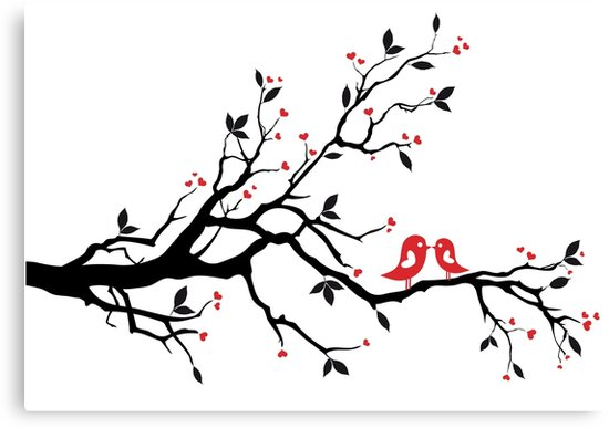 550x387 Kissing Birds On Love Tree With Red Hearts Canvas Prints By