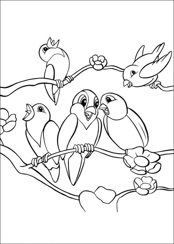 600x840 School Of Bird Singing Together Coloring Page Color Luna