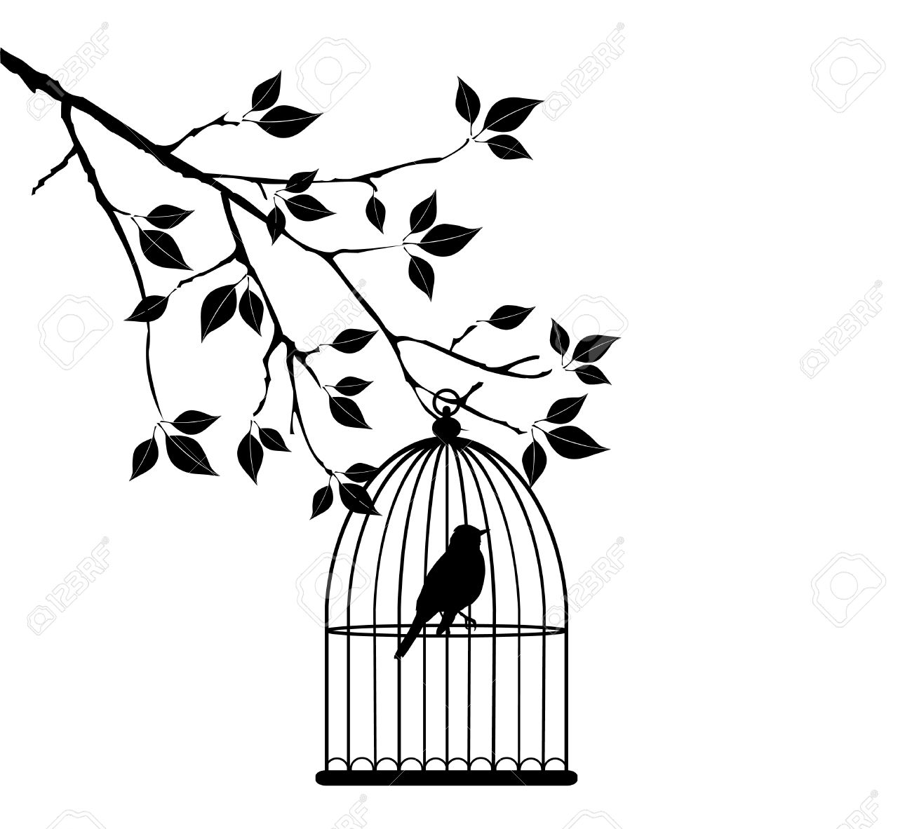 1300x1182 Vector Tree Branch With Bird In Cage Royalty Free Cliparts