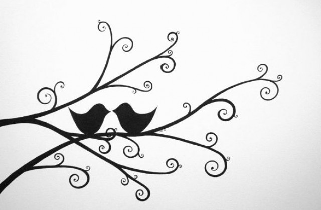 640x420 Wedding Tree With Love Birds Handmade Drawing A3 Ink And Paper Www