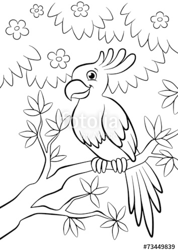 354x500 Cute Parrot Sitting On The Flowered Tree In The Forest Stock