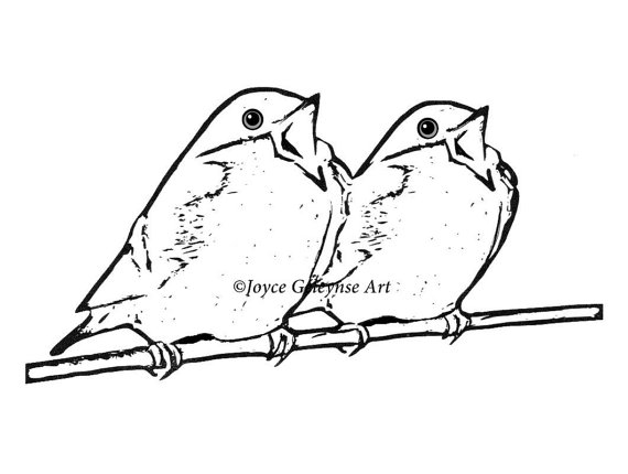 570x430 Digital Stamp Clip Art, Singing Birds On A Branch, Freehand