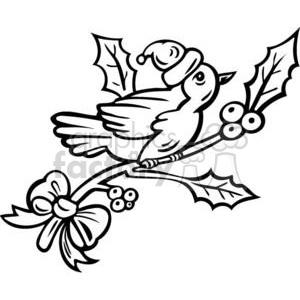 300x300 Royalty Free Christmas Bird On A Tree Branch 381109 Vector Clip