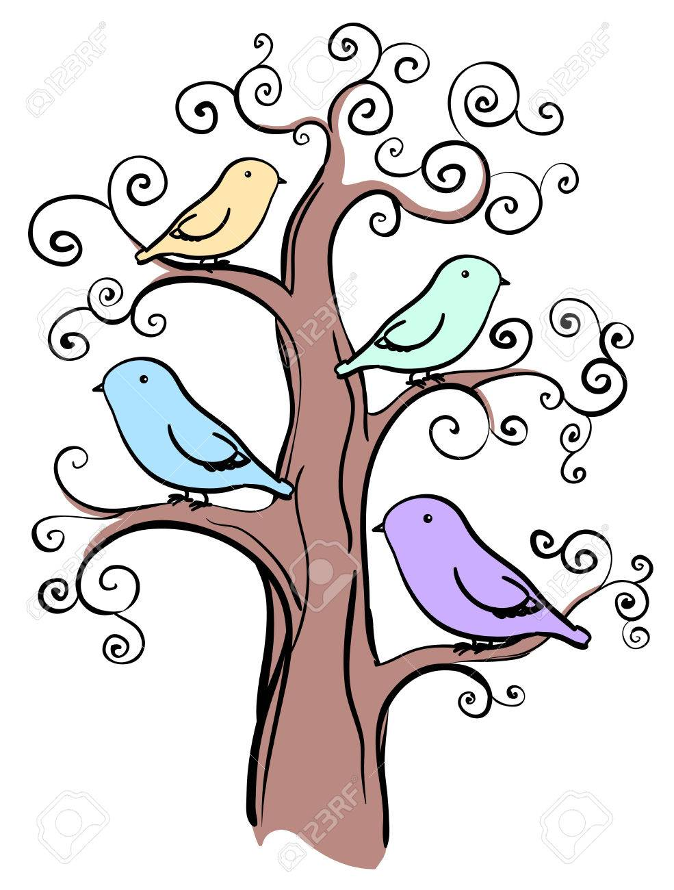 985x1300 4 Miscellaneous Color Birds On Tree Isolated Royalty Free Cliparts