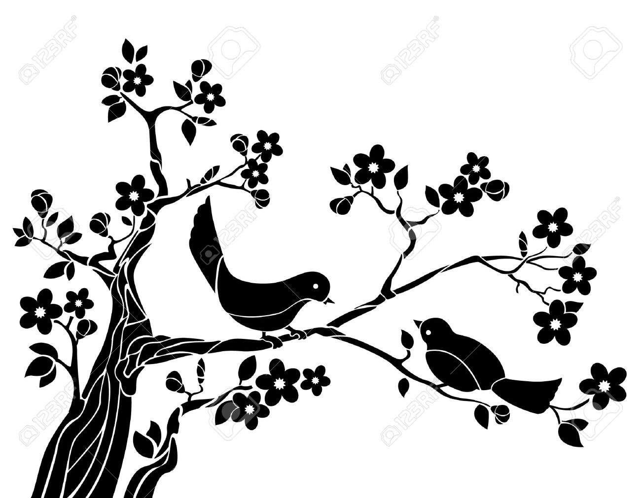 Bird On Tree Drawing at GetDrawings