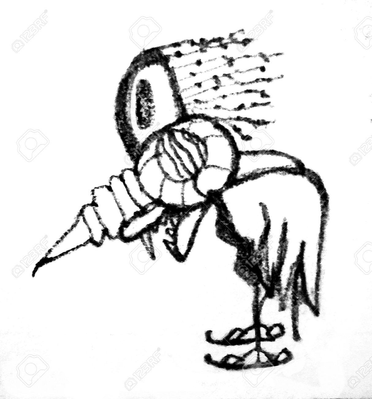 1214x1300 Pencil Drawing Artwork Depicting An Strange Alien Bird Animal
